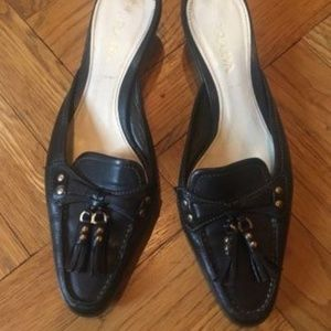 Prada Black Leather Mules Loafers 37.5 7.5